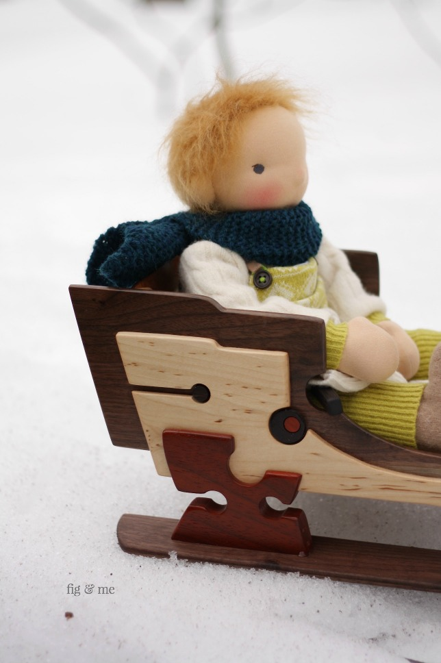 Fletcher and his wooden doll sleigh by Fig and Me.
