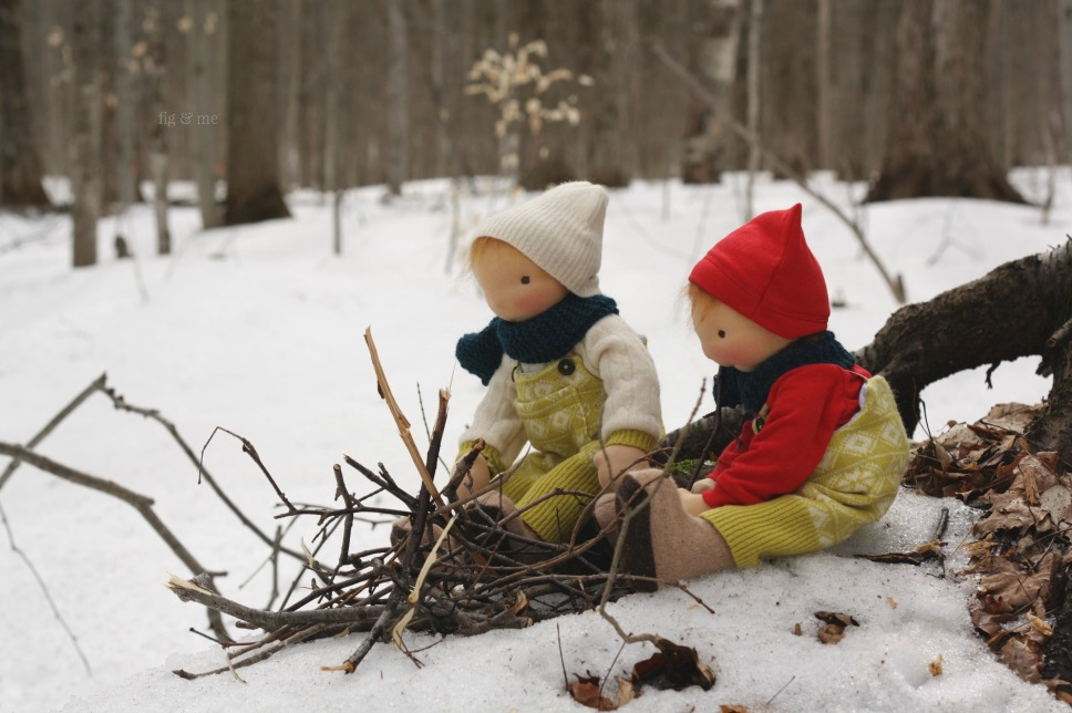 Baxter and Fletcher, two natural dolls with their wooden sleighs. Sets of open-ended toys by Fig and Me.