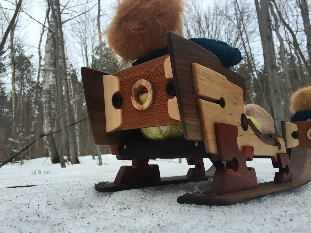Wooden doll sleigh by Fig and me
