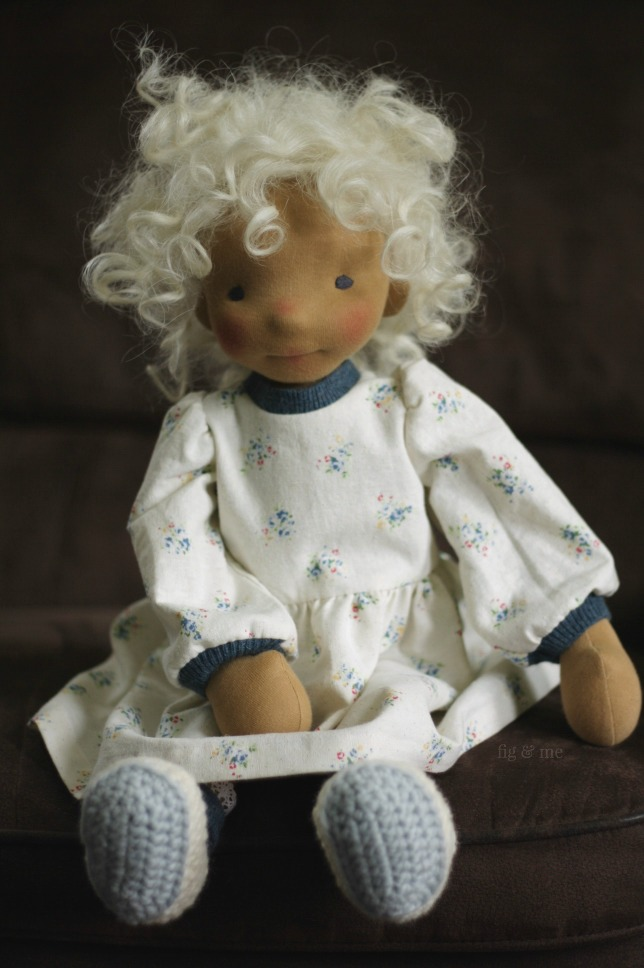 Harriet, a natural fiber art doll by Fig and Me. Dolls made for play, to be friends, to tell stories to.
