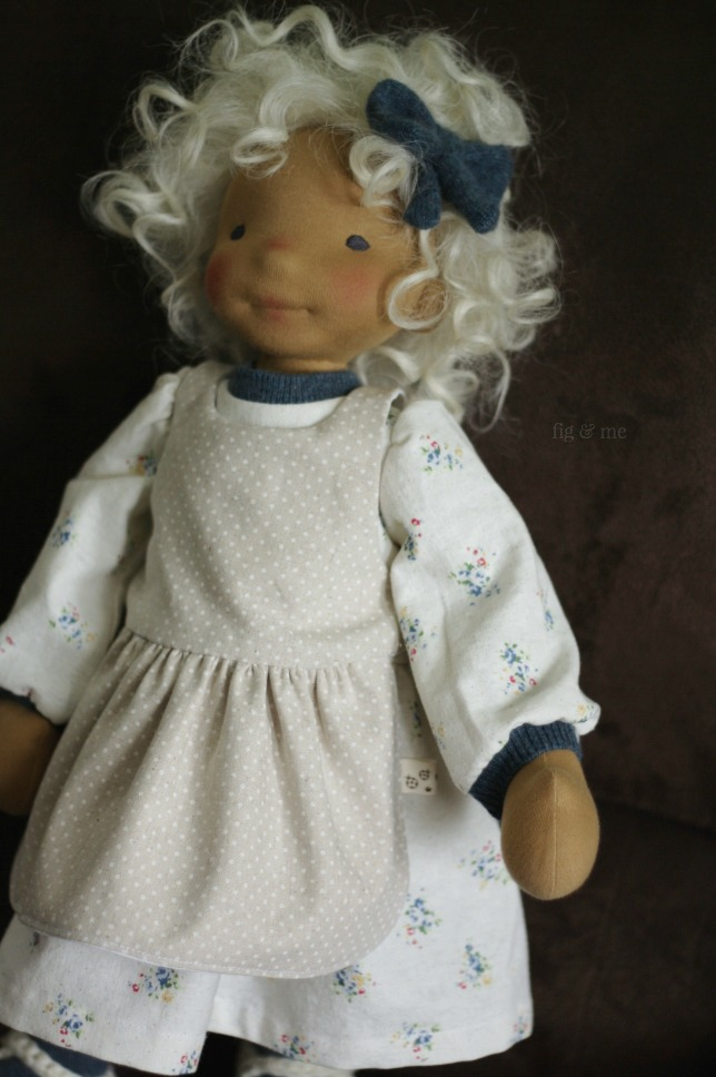 Little Harriet, a natural fiber art doll made by Fig and Me.