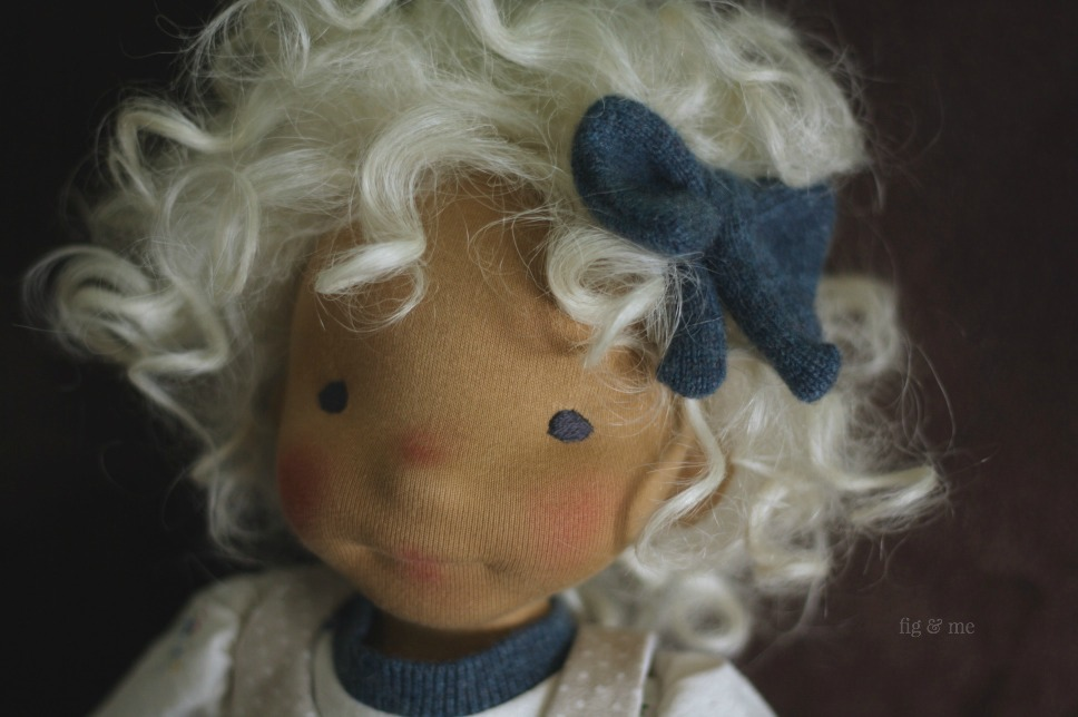 "Little Harriet with her cashmere blue bow. Harriet is a natural doll, almost 20"" tall, made by Fig and Me."