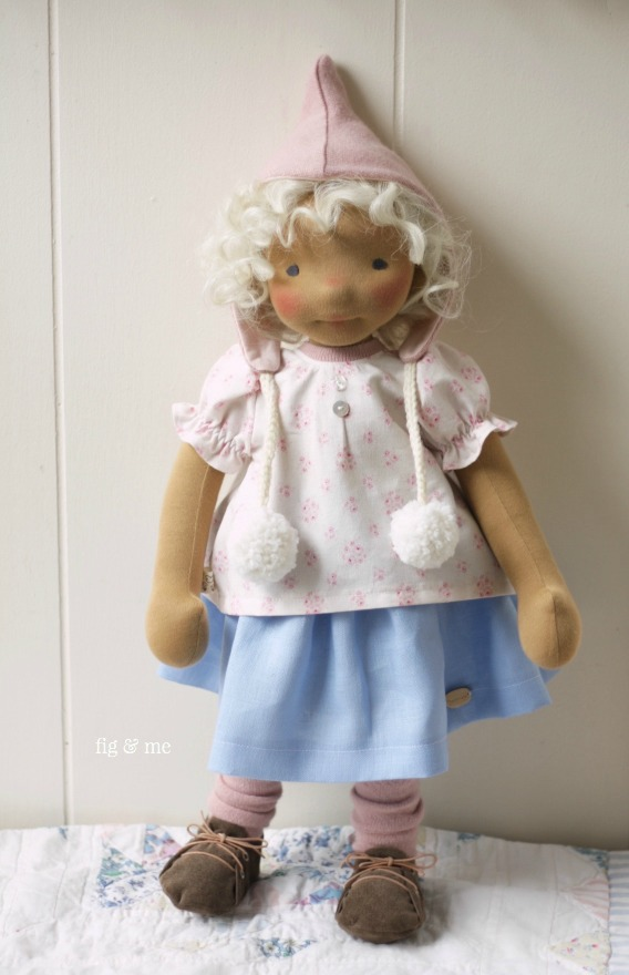 Harriet, a natural fiber art doll by Fig and me. Wearing her Spring outfit.