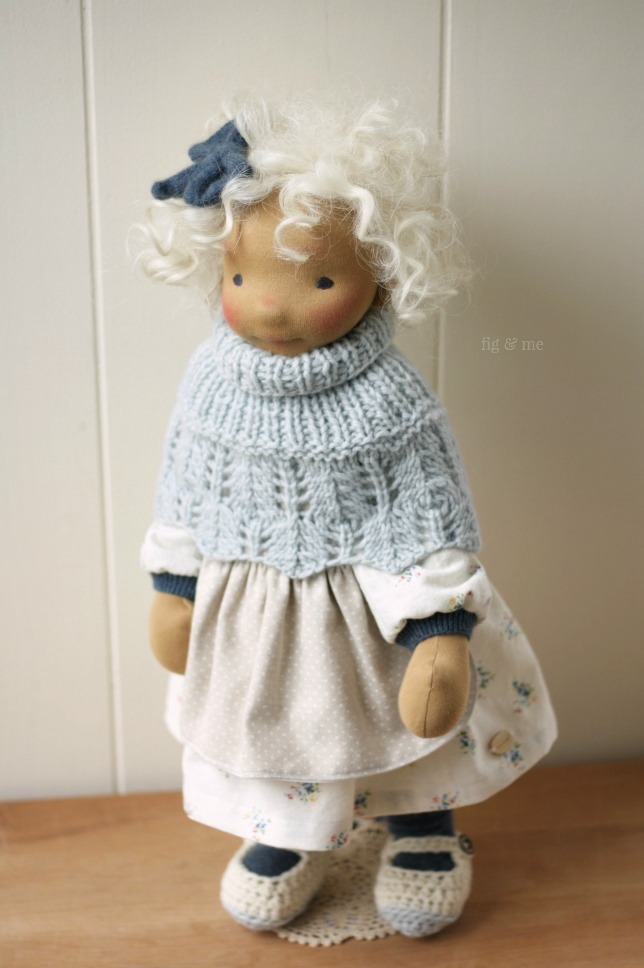Harriet, a natural fiber art doll by Fig and Me. Wearing her 'Secret Garden' poncho and her linen clothes.
