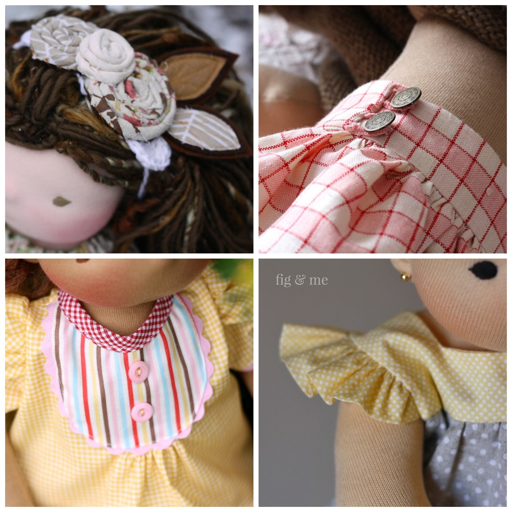 A lot of sewing details for doll clothes, for your waldorf inspired or natural fiber art doll. Via Fig and Me. Blog with free tutorials and link to patterns.