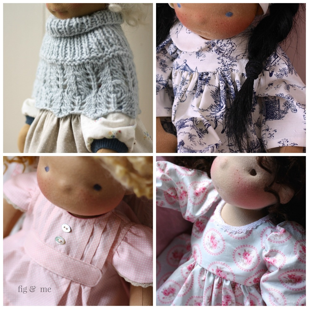 Lot of inspiration, details, pattern, link to clothing and free DIY tutorials for doll clothing, waldorf inspired or natural fiber art dolls. Via Fig and Me.