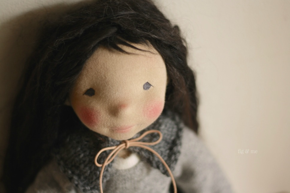 Kasumi, a natural fiber art doll by Fig and Me. Petite Fig style.