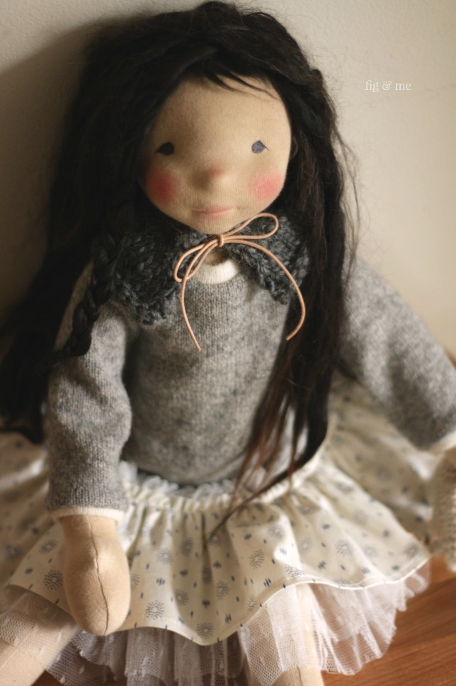 Kasumi in her drop-waist dress, a natural fiber art doll by Fig and me.
