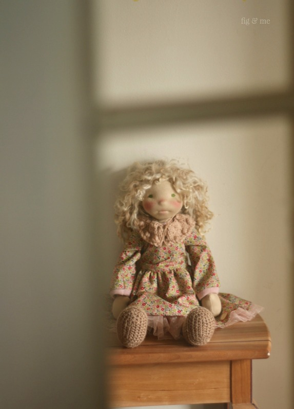 Sisley under the morning sun, a natural fiber art doll by Fig and Me.