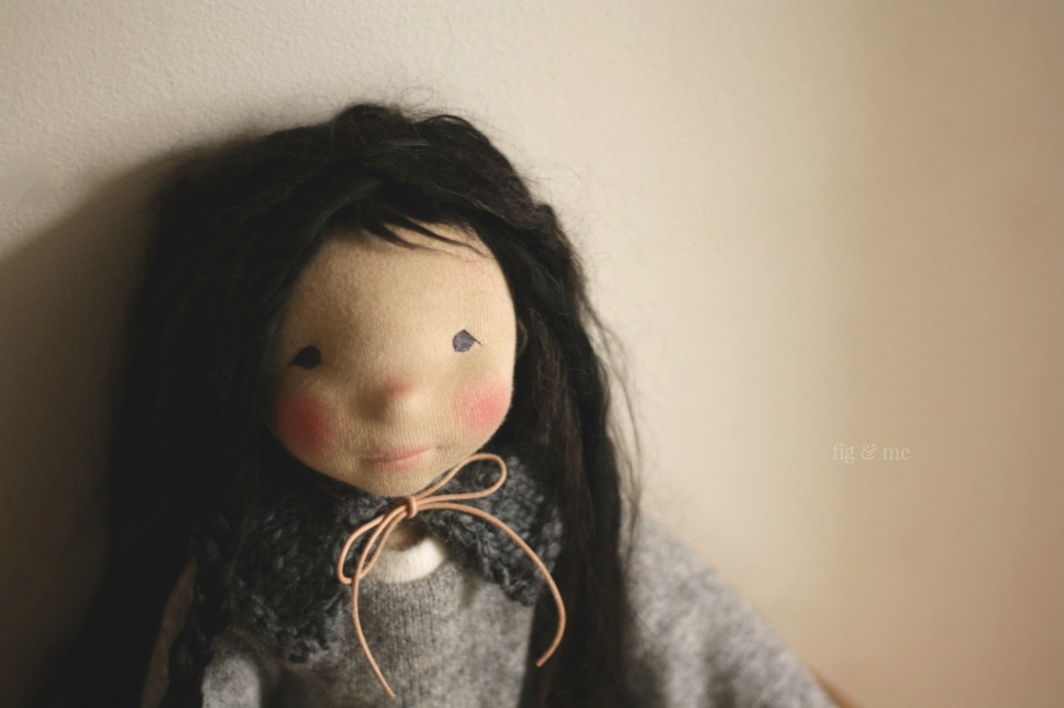 Kasumi in the early morning hours, a natural waldorf inspired doll by Fig and Me.