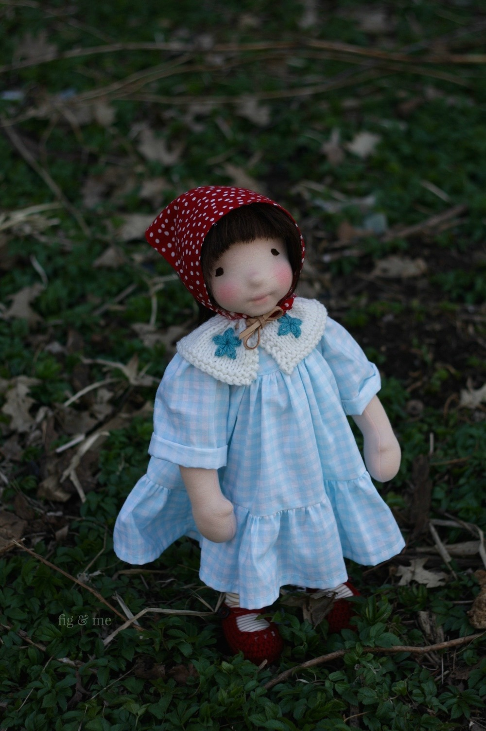 Wandering in the wicked green places. Imogen, a natural fiber art doll by Fig and Me. Wearing her gingham dress and dotted kerchief.