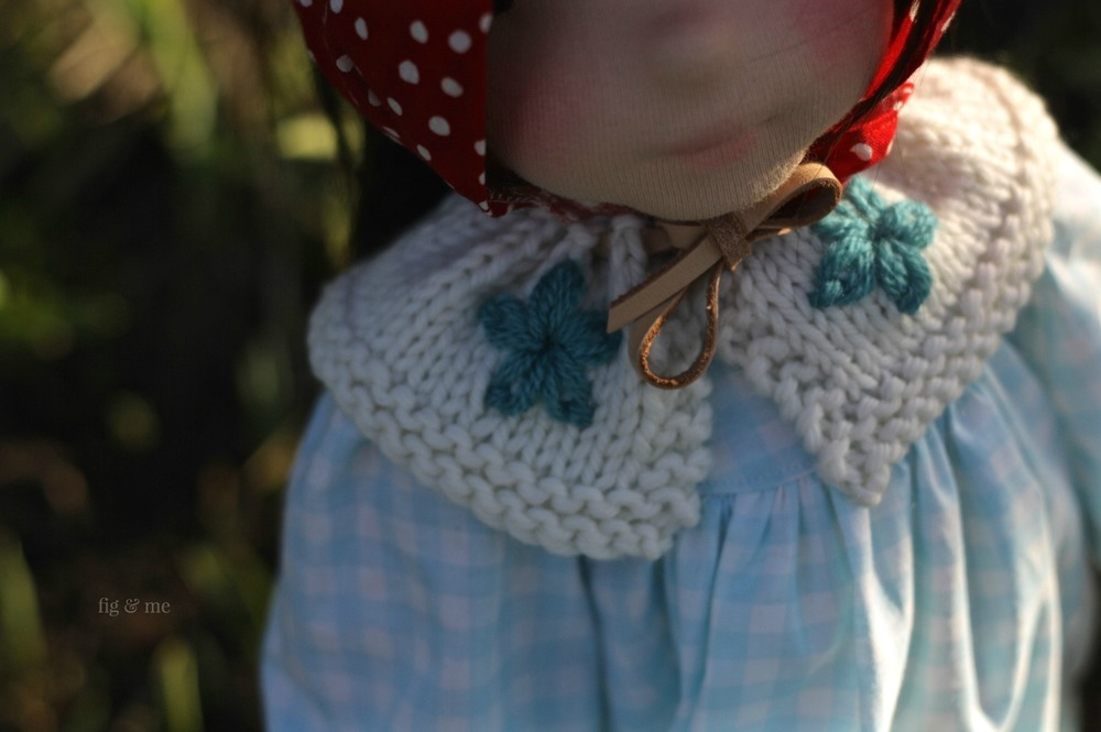 Daisy stitch on wool collar, for a natural fiber art doll by Fig and Me. Doll clothing is just the cutest thing ever!