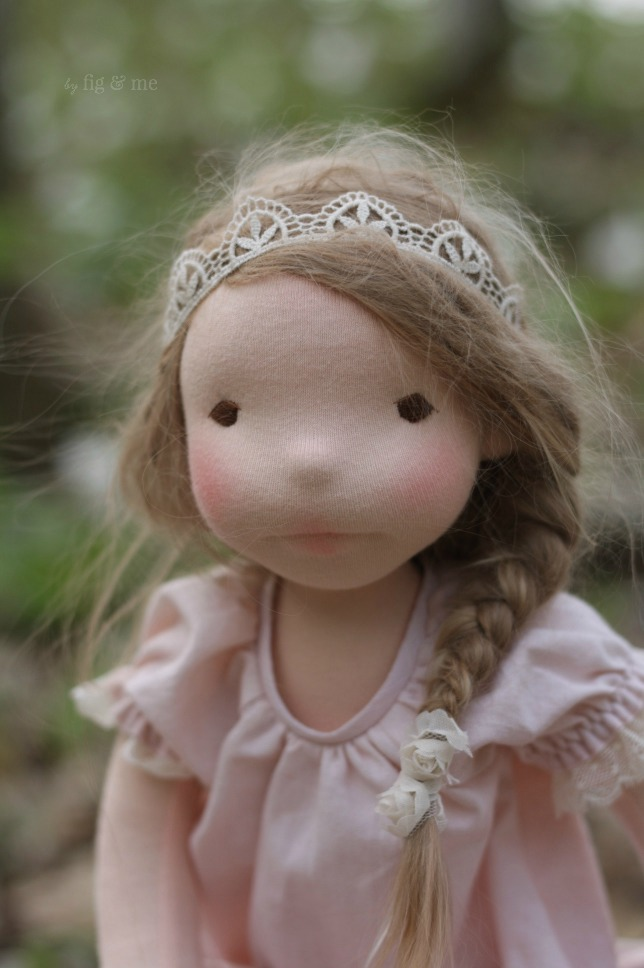 Augusta, a natural fiber art doll by Fig and Me.
