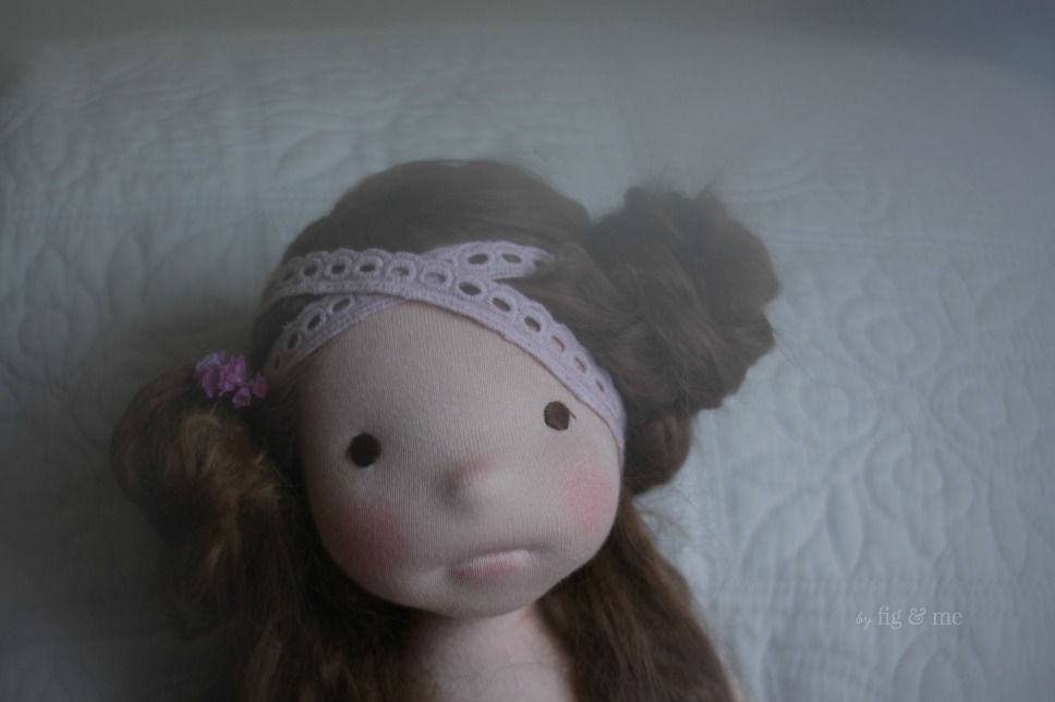 Wilhelmina, a natural fiber art doll by Fig and Me.