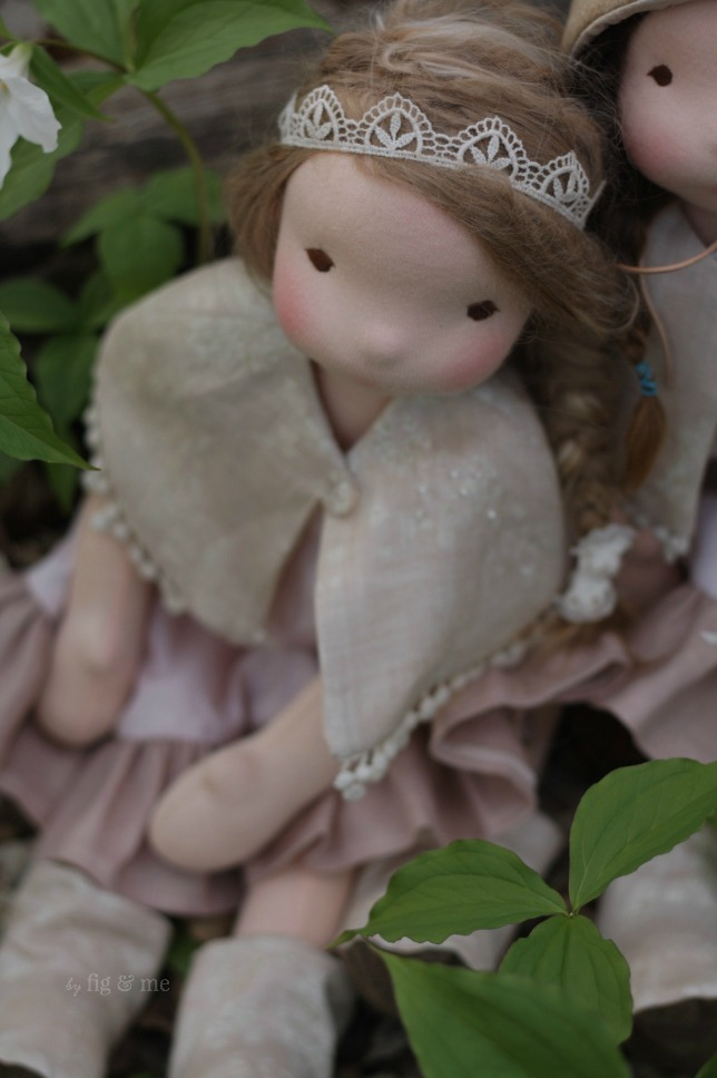 Augusta wearing her pretty linen clothes and lace tiara, by Fig and Me.