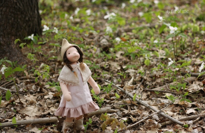 Mathilde exploring the woods this spring, finding loads of trilliums in bloom. By Fig and Me.