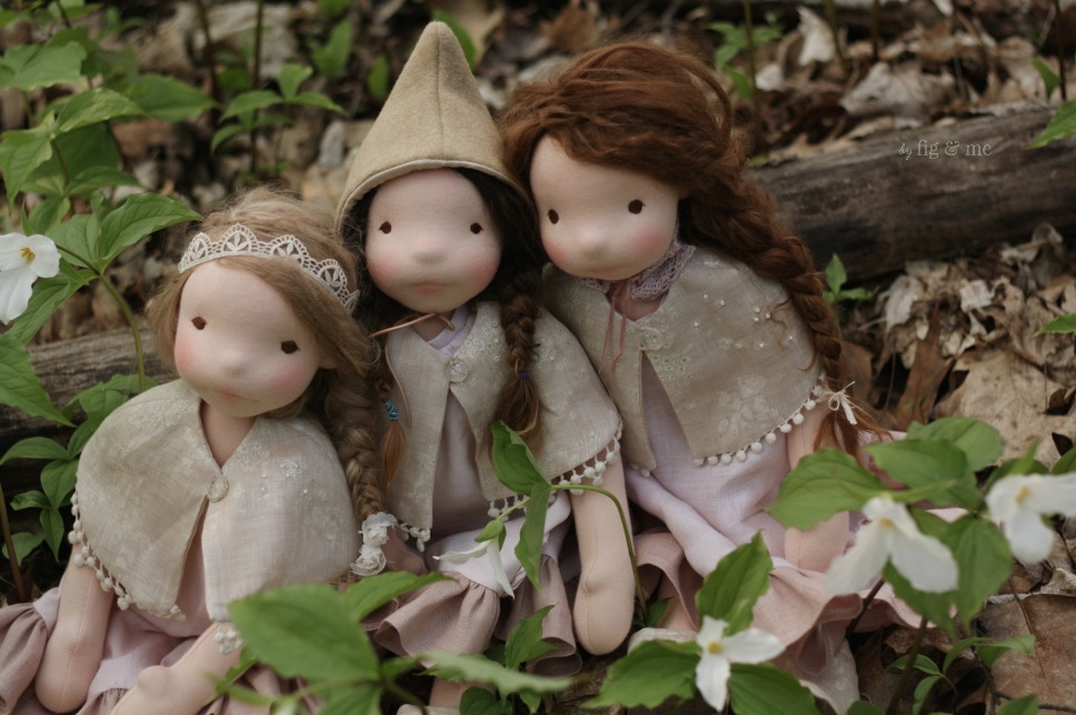 The three little dolls in the blooming woods, by Fig and Me.