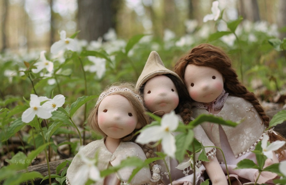 The Spring 2016 collection: three natural dolls by Fig and Me.