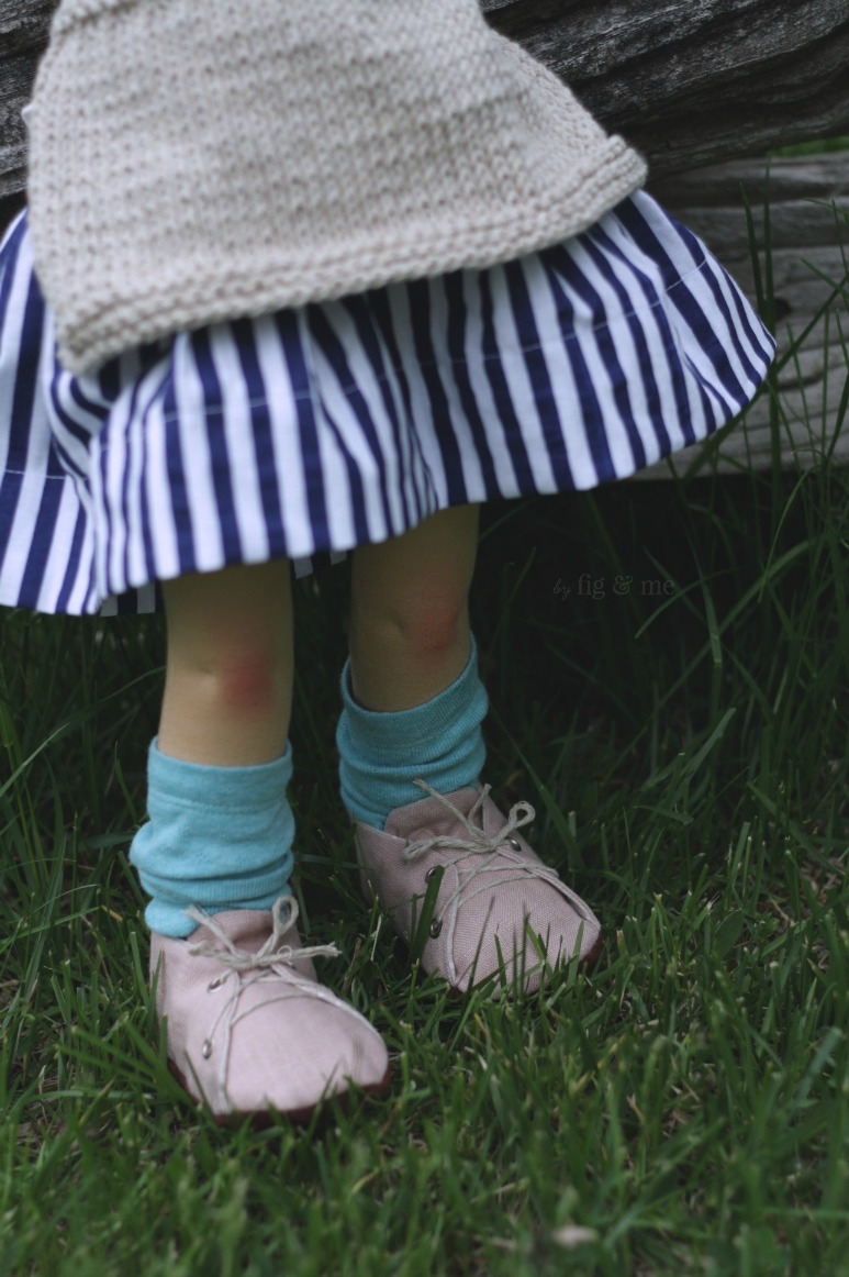 Saskia wears her cotton skirt, linen shoes and favourite blue socks… by Fig and Me.