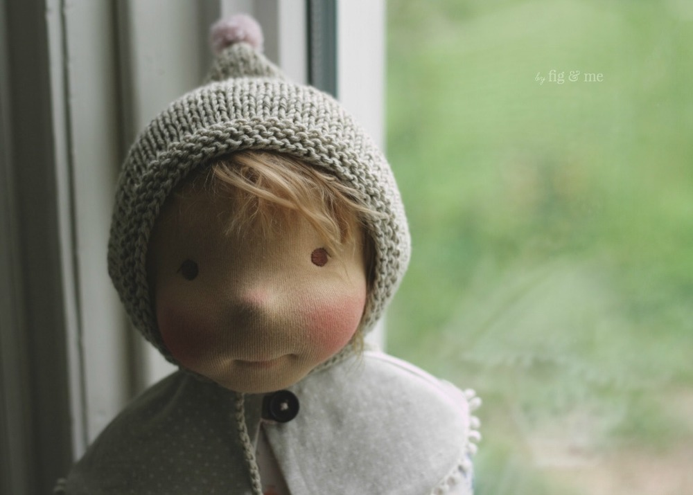 "Saskia, a 23"" tall natural fiber art doll, wearing her cotton bonnet by Fig and Me."