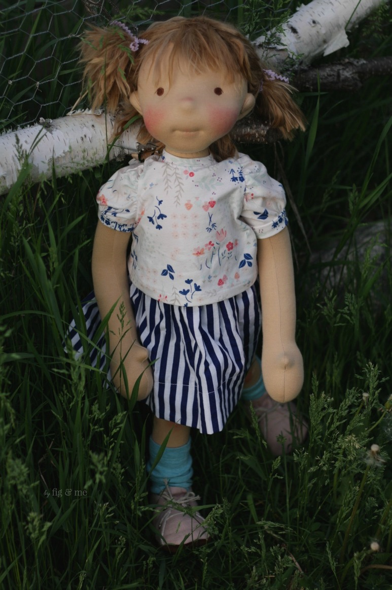 Saskia, a natural cloth doll, waldorf inspired, by Fig and Me.