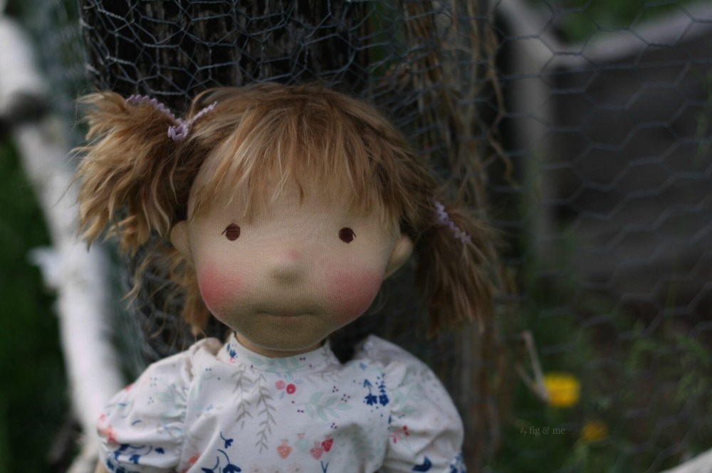 Little Saskia, a natural fiber art doll, custom made by Fig and Me.