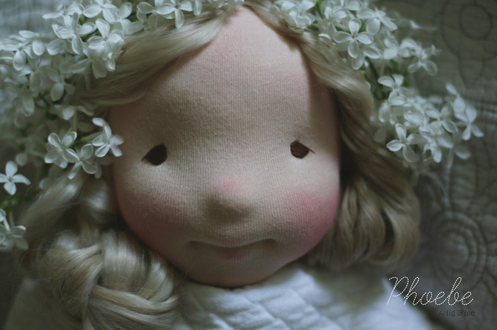 Phoebe, a natural fiber art doll, custom made and currently in the works. By Fig and Me.