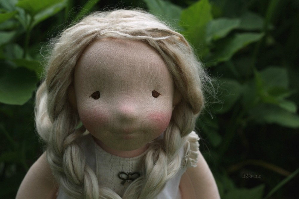 Phoebe, a one of a kind natural fiber art doll, by Fig and Me.