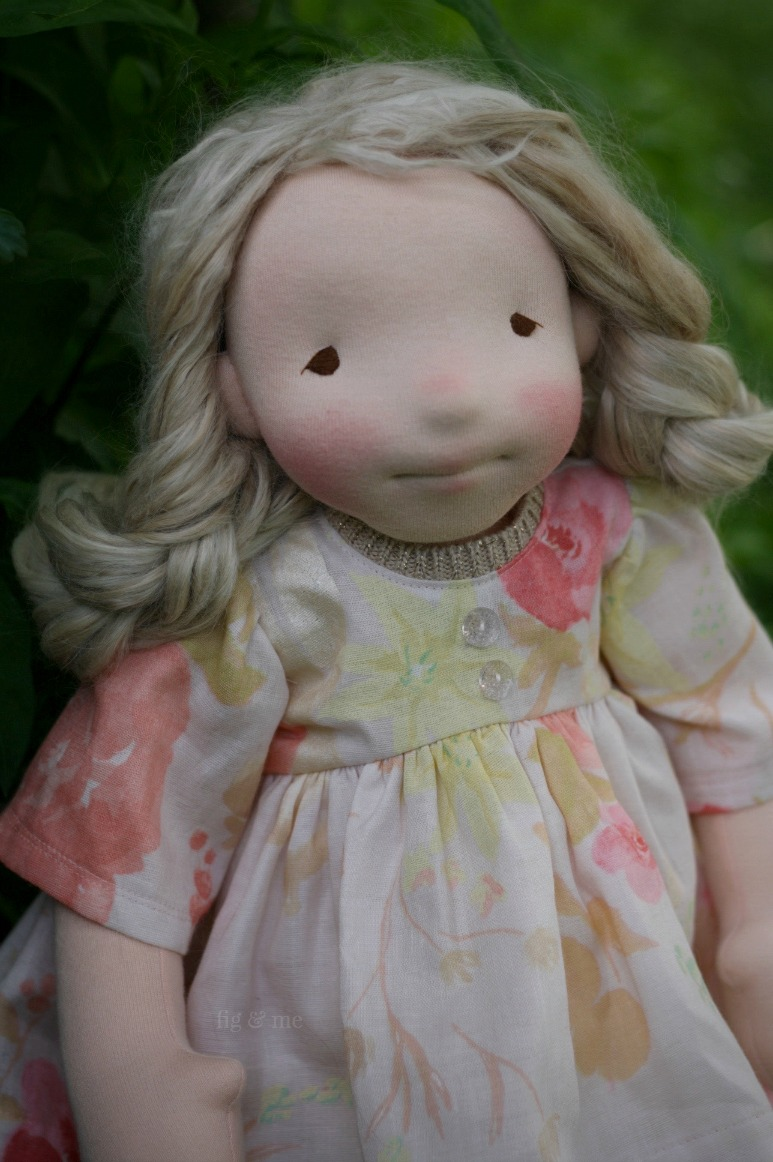 Phoebe, a one of a kind natural fiber art doll, by Fig and Me, wearing her Nani Iro by Naomi Ito cotton double-gauze dress.