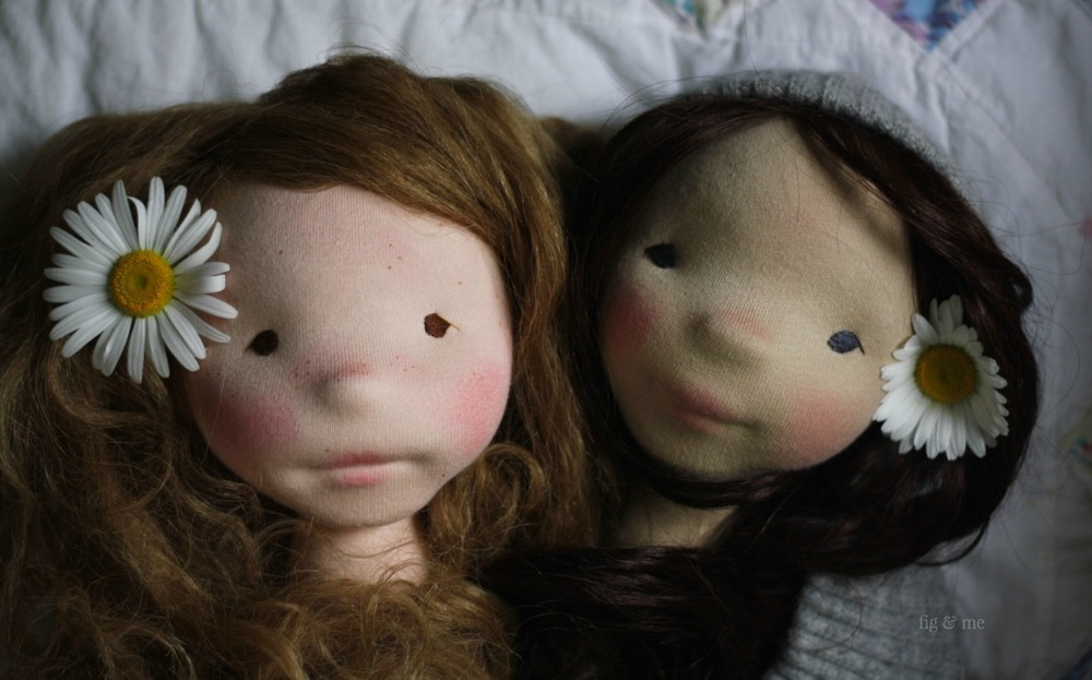 Hedwig and Dagmar, the light and dark brunettes. Two natural fiber art dolls by Fig and Me.