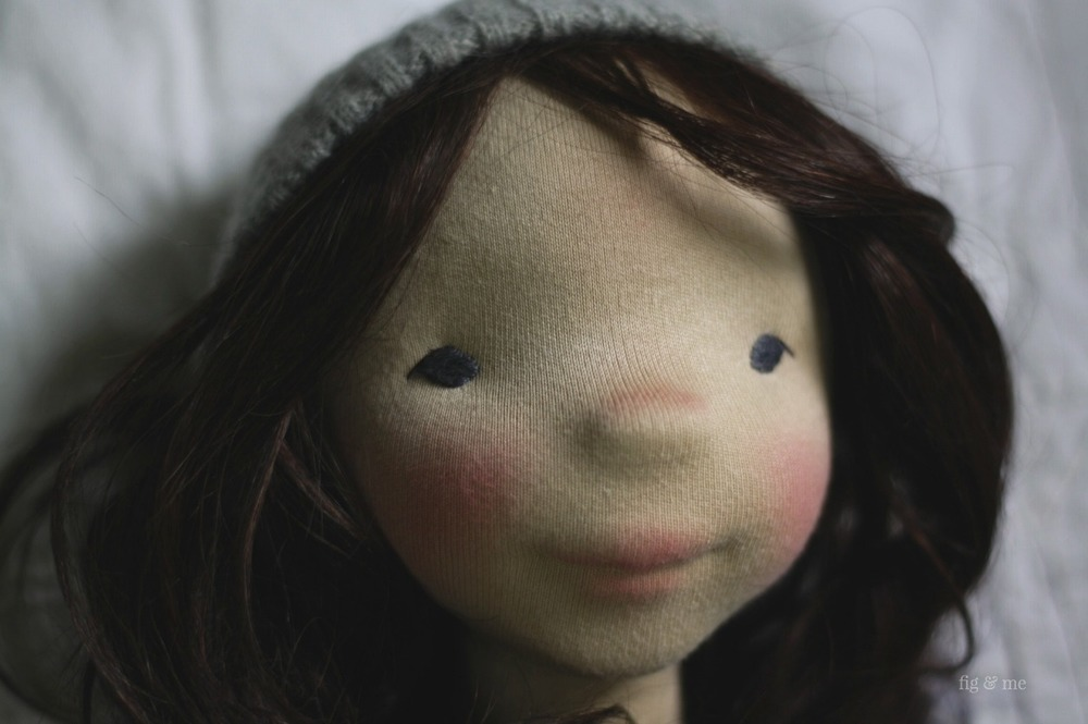 Dagmar, a natural cloth art doll, waldorf-inspired, by Fig and Me.