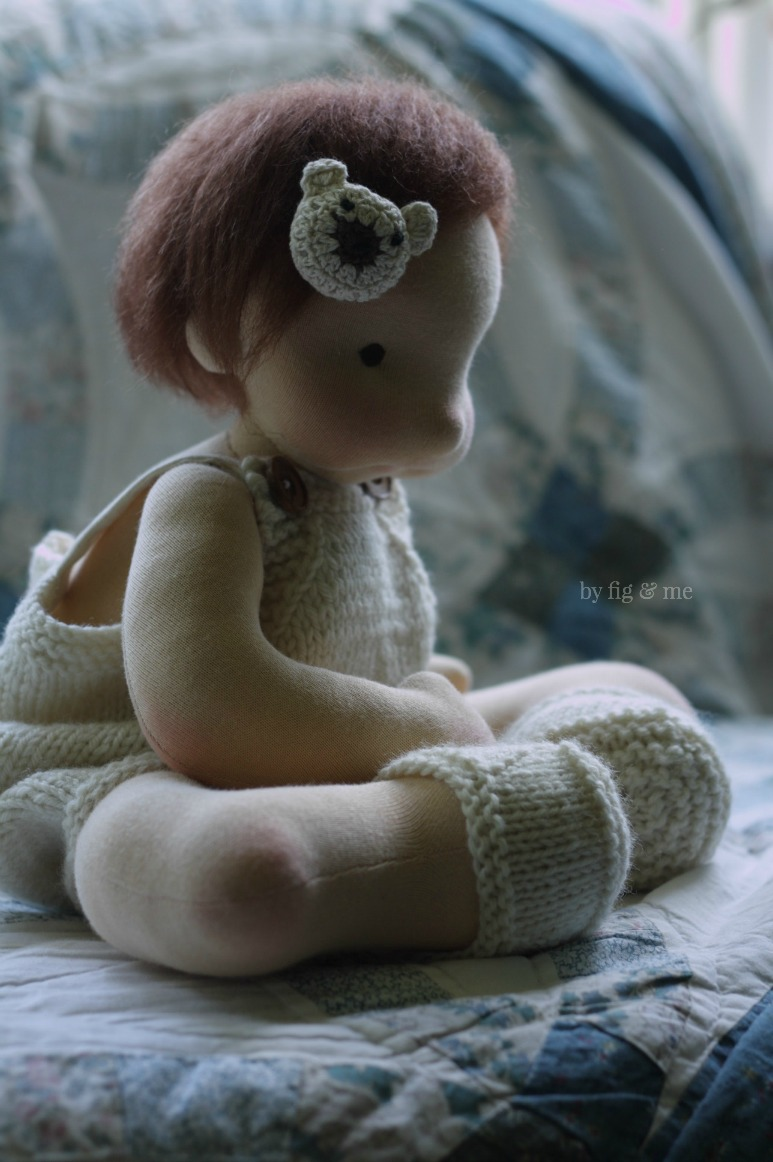 Baby Maia, a natural waldorf style doll by Fig and Me.
