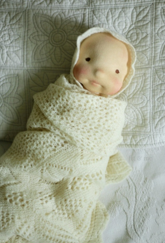 Baby Maia, wrapped in wool. A natural cloth art doll by Fig and Me.