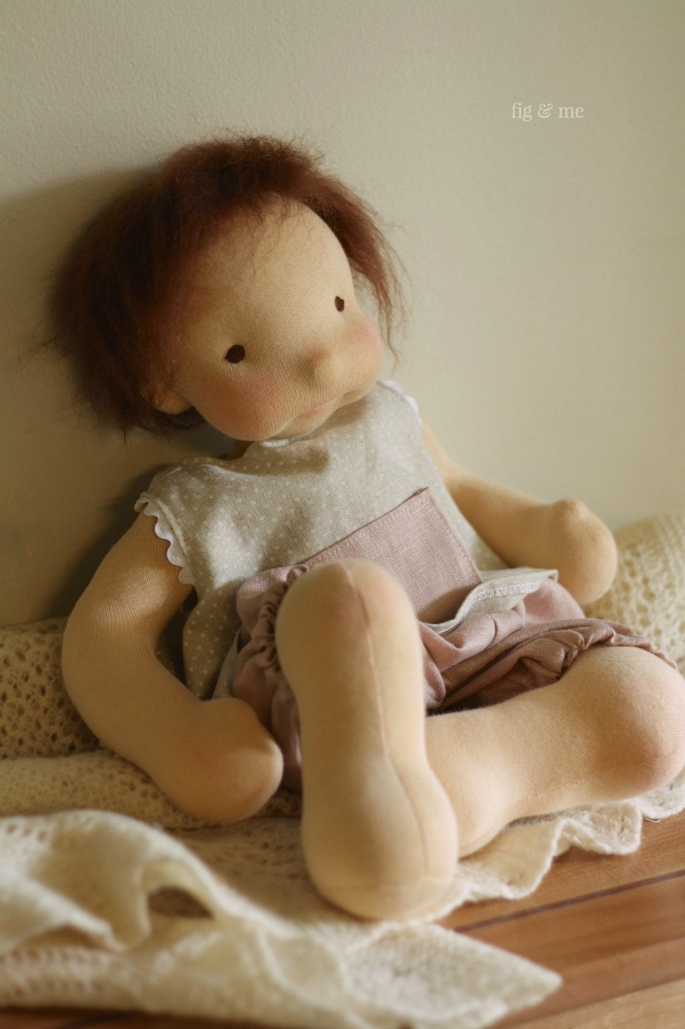 Baby doll Maia wearing her linen ensemble. By Fig and Me.