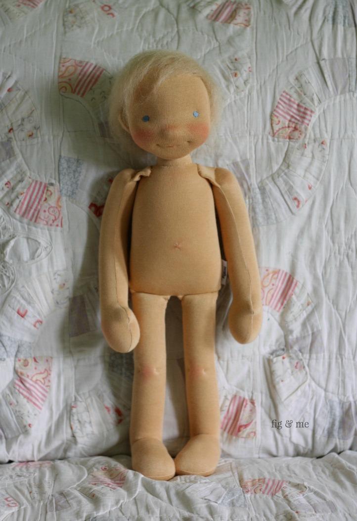 Little Caleb, a custom natural fiber art doll by Fig and Me.