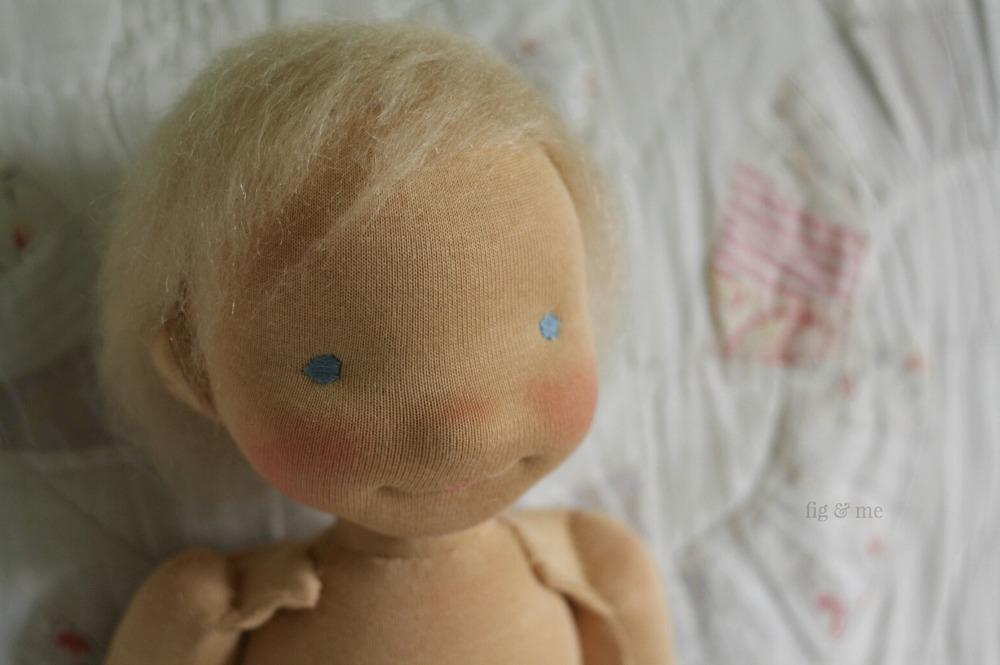 Little Caleb, a custom waldorf-inspired art doll by Fig and Me.