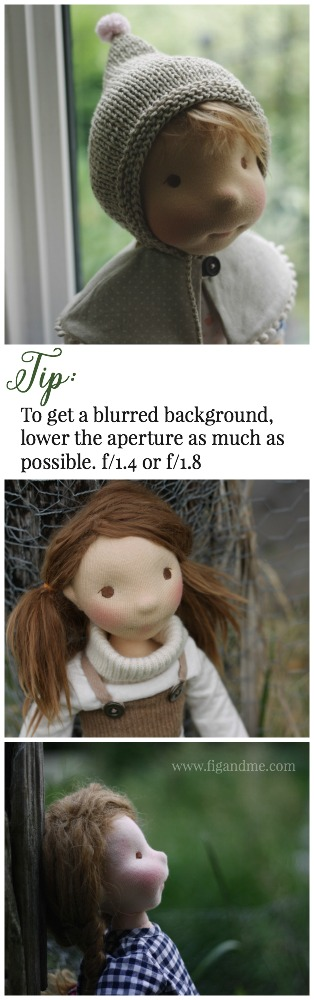 Learn with my simple photography guide, how to get quick effects like a blurred background on your doll photos. You set your aperture to its lowest number. I am using a 50mm lens for these photos. via Fig and Me.