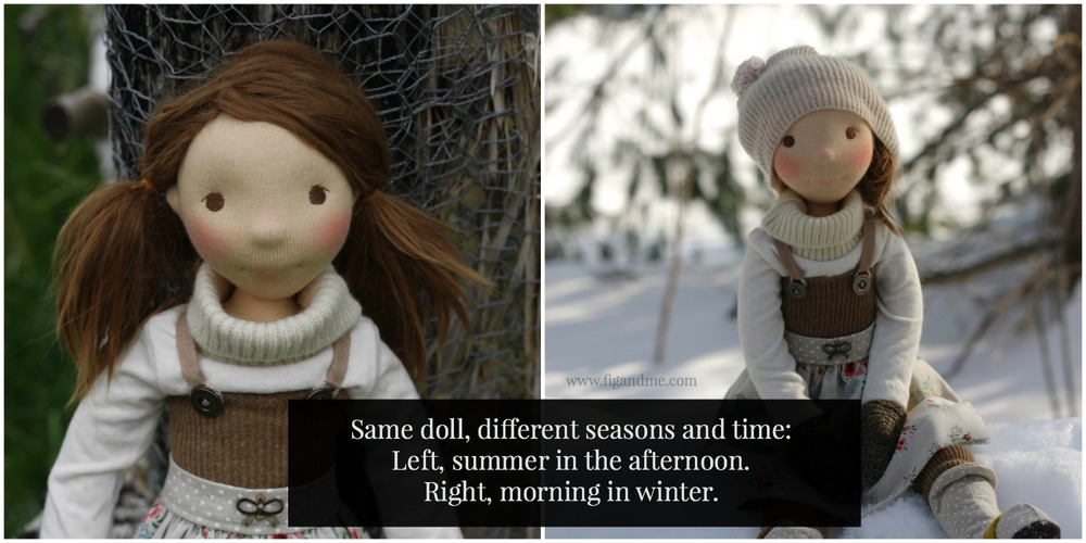 Take notice of the change in light. An overcast summer afternoon, versus a pretty winter morning. Both photos outside, same doll. Excerpt from 'Your Quick Mini Guide to Better Doll Photos' by Fig and Me.