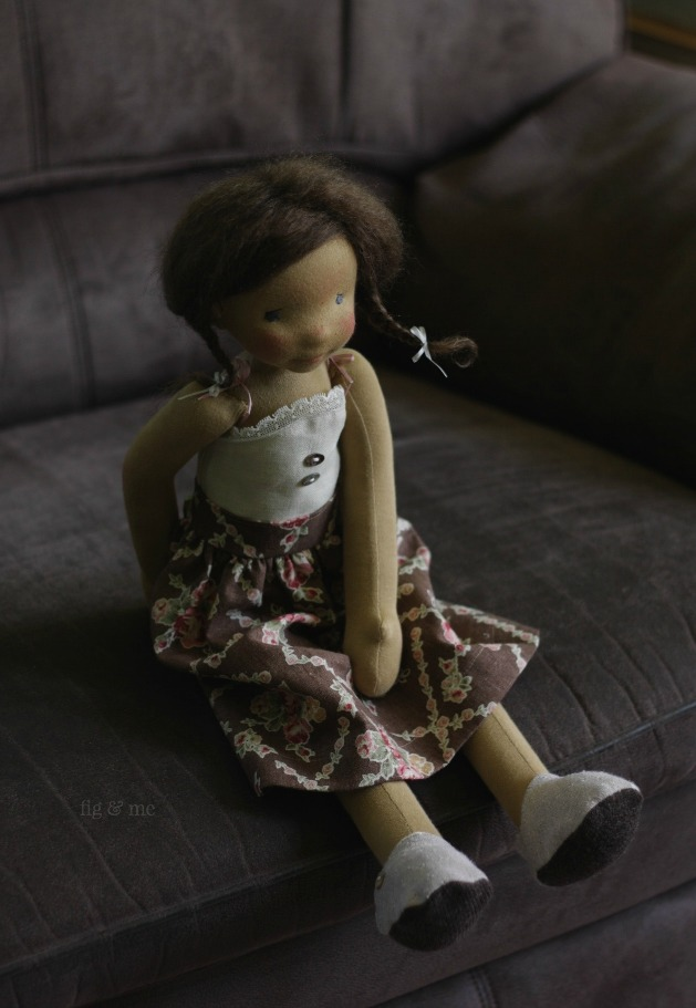 Louella wearing her linen skirt, waiting for me to tell her a scary story. Hush, child! by Fig and Me.