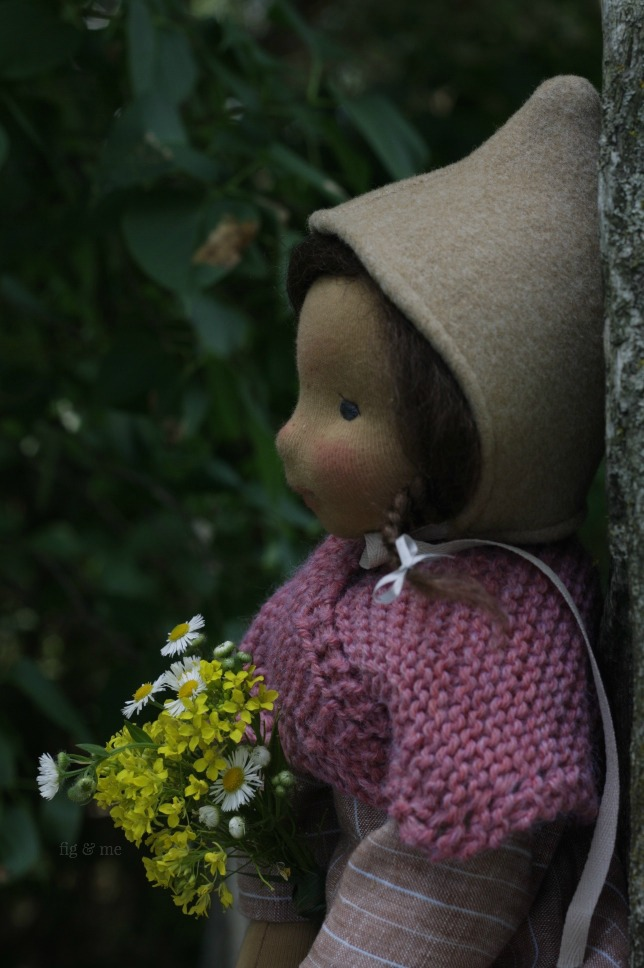Louella, picking posies for her friends. By Fig and Me.