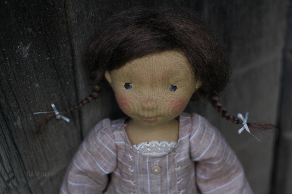 Louella, a waldorf inspired cloth art doll by Fig and Me.