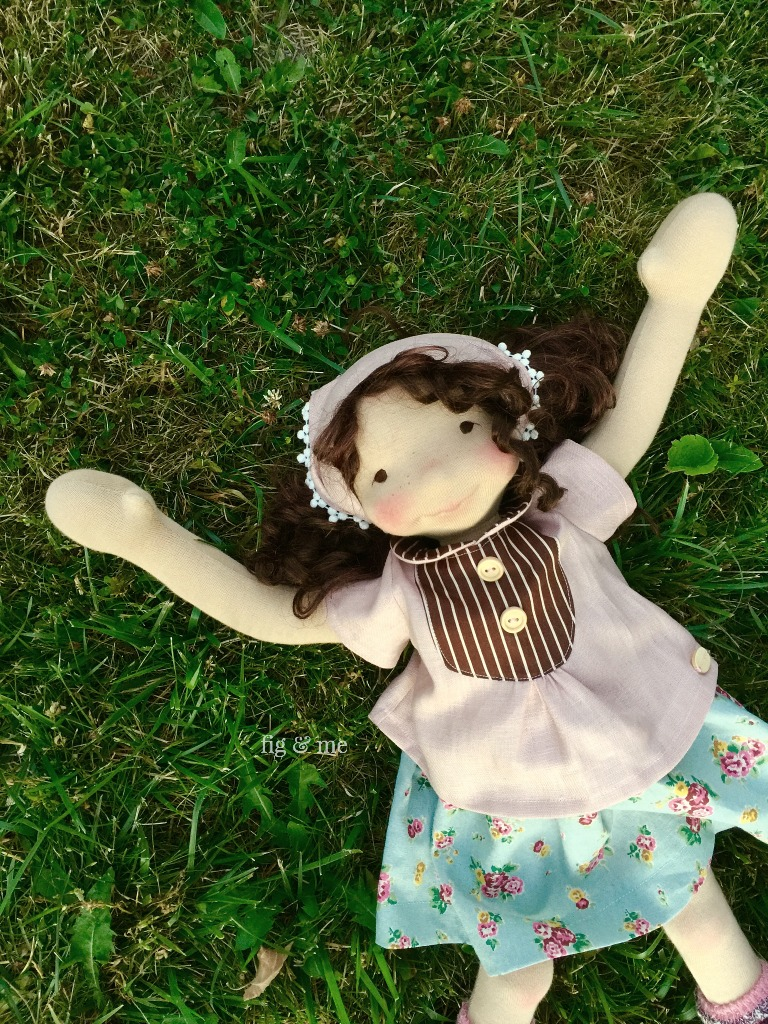 "Agnes, a 23"" tall art doll by Fig and Me."