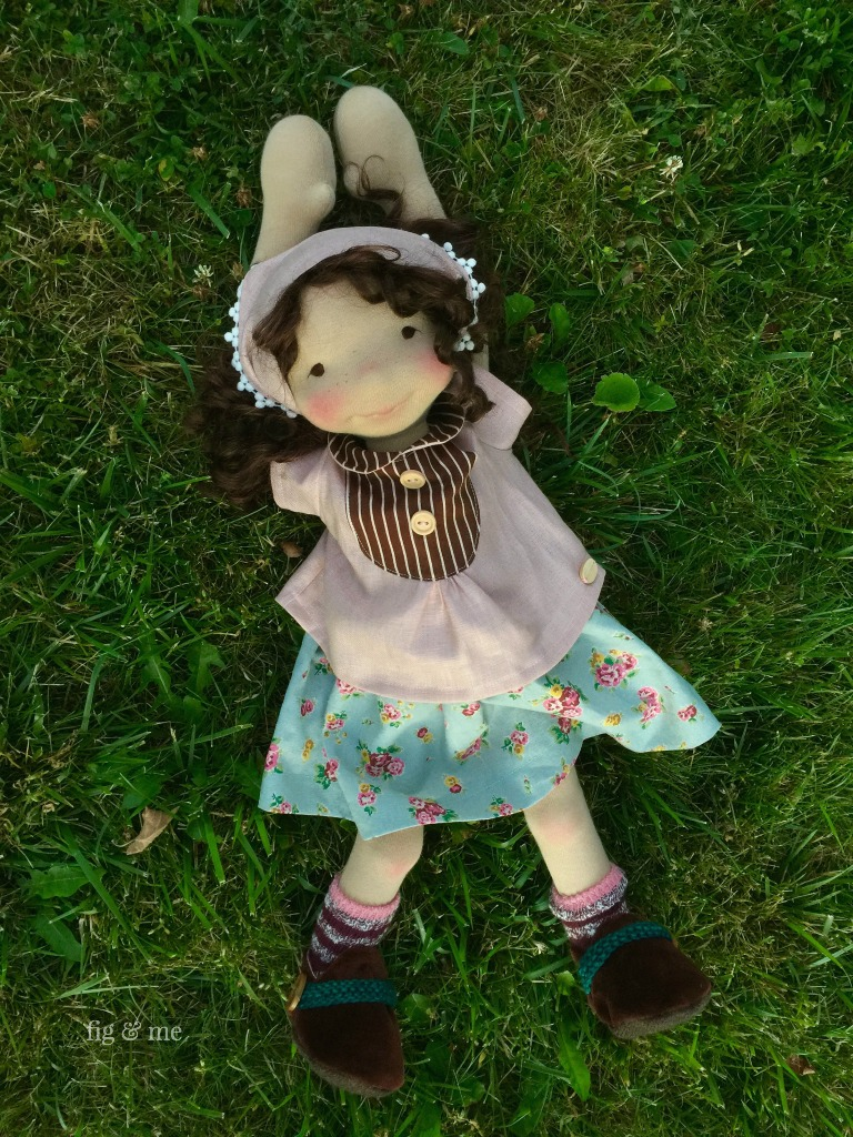 Agnes, enjoying the sunset. Natural doll by Fig and Me.