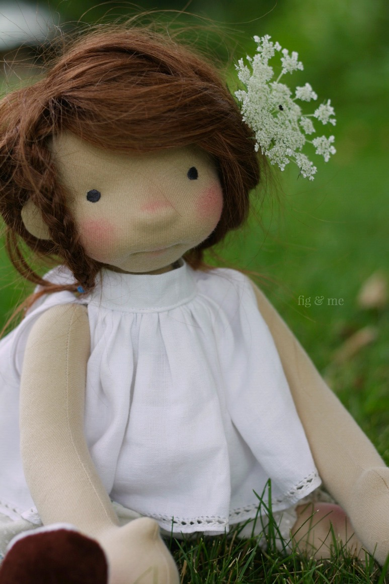Adelheid, a natural fiber art doll ready to play. By Fig and Me.