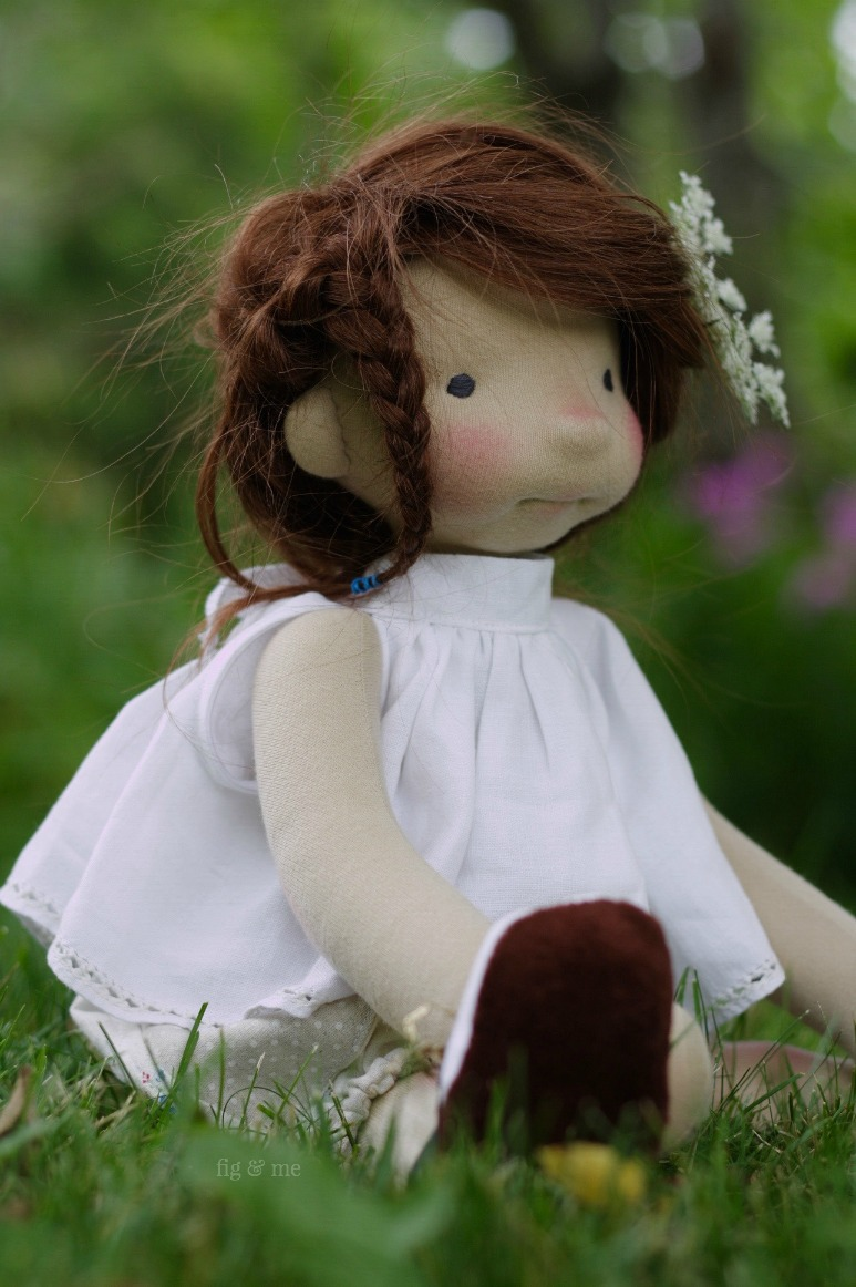Little Adelheid, a natural fiber art doll ready to play, by Fig and Me.