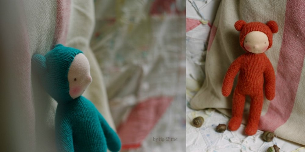 Wee Babies by Fig and Me. Wee Babies are waldorf-inspired dolls made with repurposed cashmere sweaters, stuffed with wool and blushed with red beeswax. All sweet and natural toys.