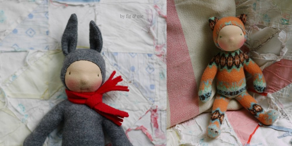 Wee Babies by Fig and Me. All natural dolls made with repurposed wool sweaters, stuffed with wool and blushed with red beeswax.