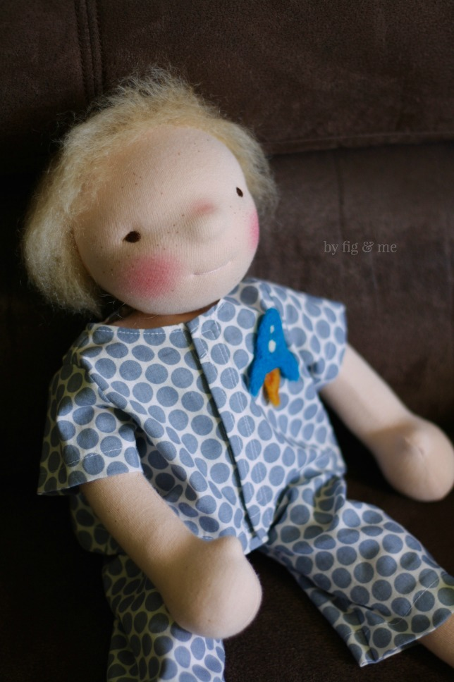 Sunny, a waldorf style doll by Fig and Me.