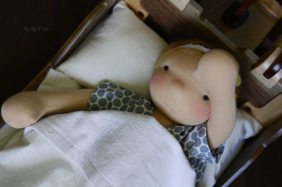 Stella, a waldorf style doll by Fig and Me.