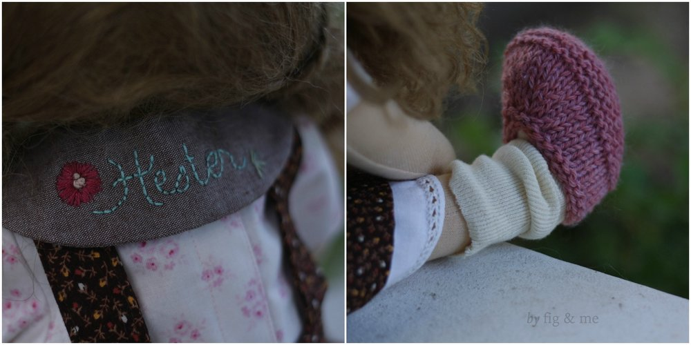 Details on Little Hester's clothing. Embroidered round collar and knitted moccasins. By Fig and Me.